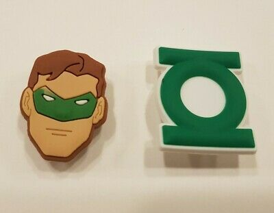 Green Lantern Shoe Charms fits Crocs / Jibbitz Bracelets Superhero Set 2 pieces
