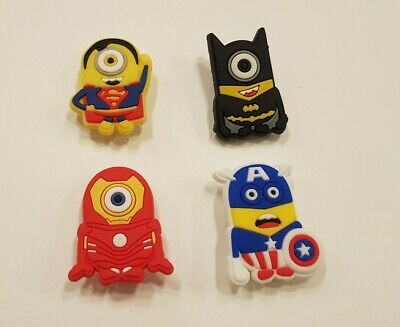 Minions Superhero Shoe Charms Crocs and Jibbitz Bracelets Set 4 pieces