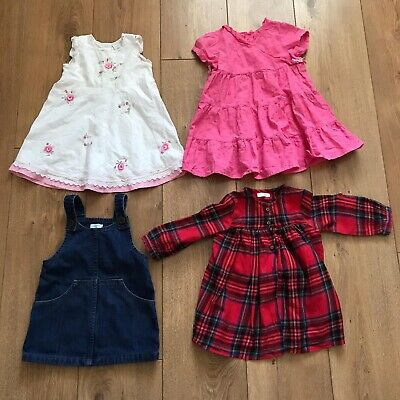 Baby girl dresses 6-9 months X3 and Denim Pinafore 9-12. 3 NEXT 1 GEORGE
