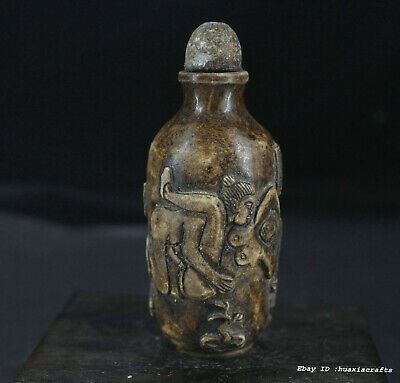 8cm collect China Old stone Carving Man woman snuff bottle snuff box W1W2
