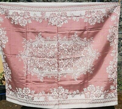 pretty pink Irish damask table cloth basket weave roses 52 in x 57 in