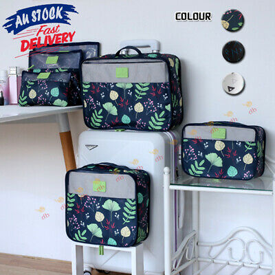 6Pcs Travel Packing Cube Luggage Organizer Suitcase Clothes Makeup Storage Bag