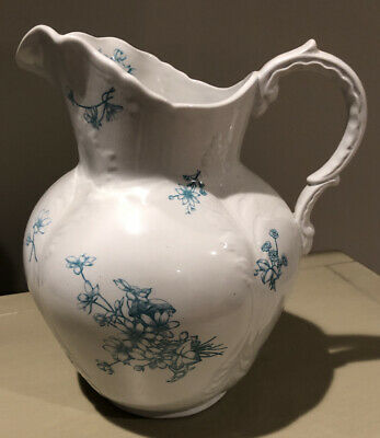 Antique Victorian White W/Teal Transferware Pitcher Embossed Design