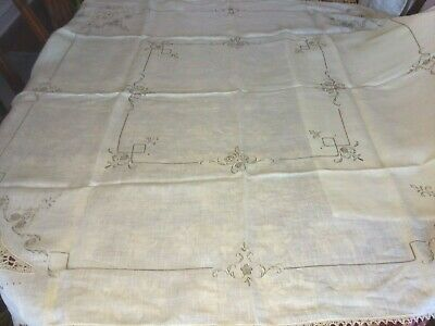 """Vintage Shear Linen Beige Hand Embroidered Stitch and Lace Tablecloth 52"""" x 52"""""""