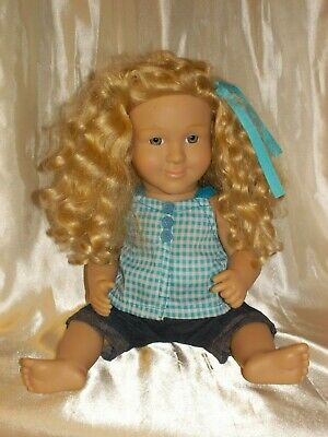 """Lakeshore blonde long curly hair girl doll poseable jointed 15"""" tall, sold as-is"""