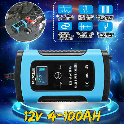 12V 6A Smart Intelligent Car Battery Charger Automobile Motorcycle LCD  e f