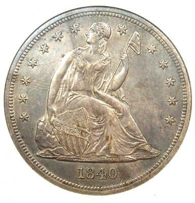 1840 Seated Liberty Silver Dollar $1 - ANACS AU55 Details - Rare Certified Coin!
