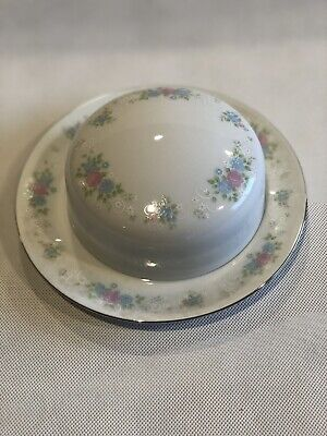 China Garden Prestige Rounded Covered Butter Dish Roses Platinum Trim