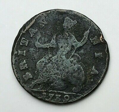 Dated : 1739 - Copper Coin - Half Penny - King George II - Great Britain