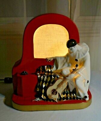 Original French Art Deco Harlequin Pierrot Clown Lamp by Aladin Luxe