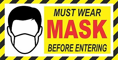 MUST WEAR MASK 4x8 IN. (2) STICKERS / PREVENT SIGN / FOR DOOR OR WINDOW