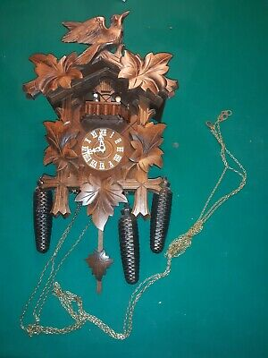 German Hand Carved 1 Day Cuckoo Clock Gueissaz Jaccard Swiss Movements 1960's