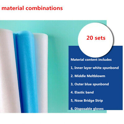 20sets Melt-blown Nonwoven Fabric Mouth Face Craft Filter Interlining Material