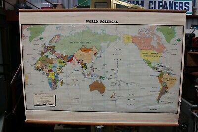 Large Vintage Retro World Political School Map Folding Linen Backed 1983