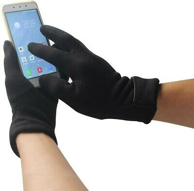Women's Touch Screen Phone Fleece Windproof Gloves Winter Warm Wear (Black)
