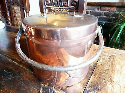 Attractive Large Antique Early Copper and Iron Cauldron / Cooking Pot