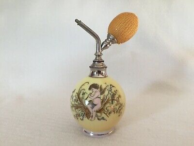 Antique Opaline Glass Perfume Atomizer Bottle with Cherub
