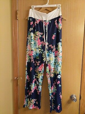 Size Medium Women's Loose PJ Lounge Pants Casual--Floral and Black and white