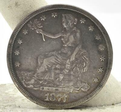 Raw 1877S Trade Dollar $1 Nice condition