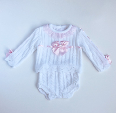 Baby Girls Spanish Knitted Long Sleeve Top & Jam Pants Pink White Blue 3-24M
