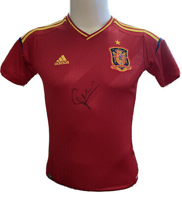 Signed David Silva Retro Spain Shirt 2014 Manchester City Valencia