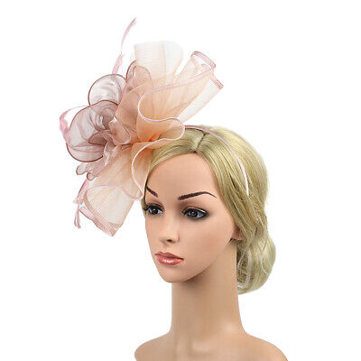 Women Elegant Female Artificial Feather Hair Clip Party Hat Flower Accessories