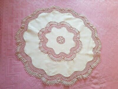 antique table linen circular cloth cream beige lace 33 inches