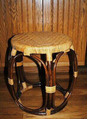 Mid Century Modern Round Bamboo Rattan McGuire Style Accent Table