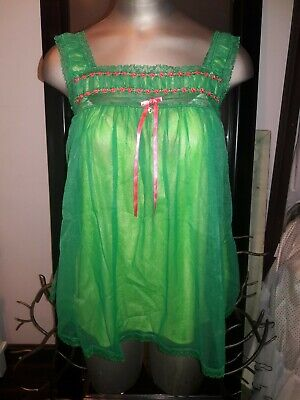Victoria Secret Babydoll SZ L Green Sheer Vintage