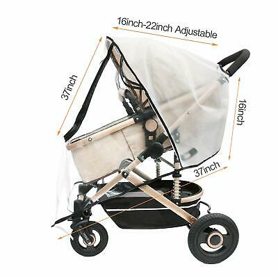 Universal Rain Cover for Pushchair Stroller Buggy Pram Carrycot Transparent - UK