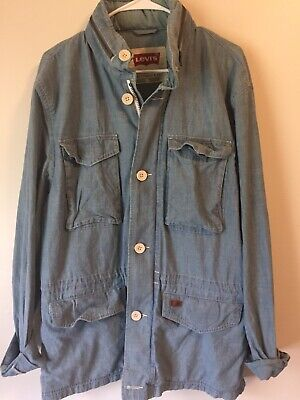 Levis Strauss Men's XL Hooded Cotton Jacket Zip Up Button Pockets Light Blue