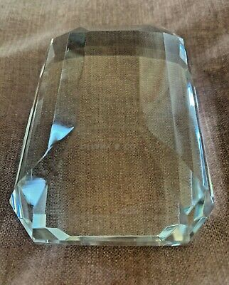 Tiffany & Co. Diamond Paperweight Emerald Cut Crystal Home Office Desk Style