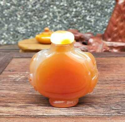 Natural Agate Jade Hand-Carved Statue Snuff Bottles Exquisite 014