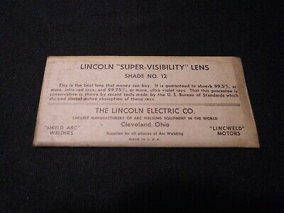 "Vintage Lincoln Welding Helmet Lens Super Visibility 2"" x 4 1/4 Shade No.12"