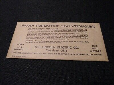 "Vintage Lincoln Welding  Lens Super Visibility 2"" x 4 1/4 Clear Non Spatter"