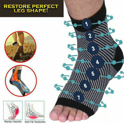 Compression Ankle Sleeve Copper Infused Magnetic Foot Arch Support Heel Sock pad