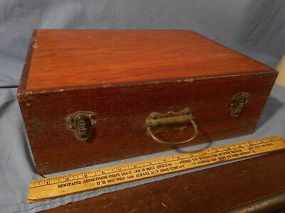 Large Heavy Antique vintage wood suitcase storage cabinet brass hardware