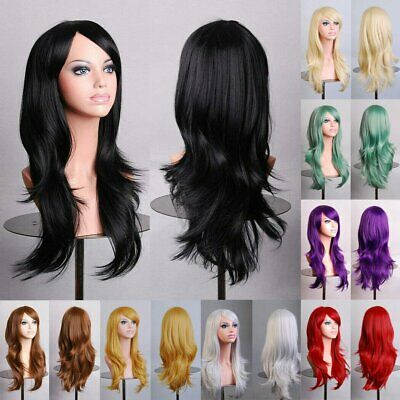 70cm Long Womens Wavy Curly Hair Synthetic Cosplay Full Wig Wigs Party