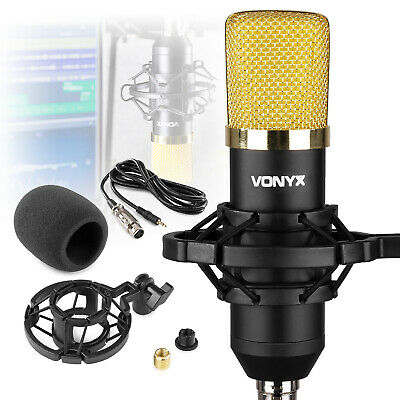 Vonyx CM400B Studio Condenser Podcast Microphone Black/Gold 48v Phantom Power