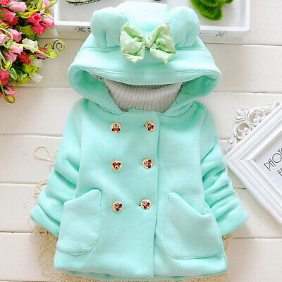 Girls Jacket Hooded Autumn Winter Outwear Overcoat Warm Double-breasted Bow-knot