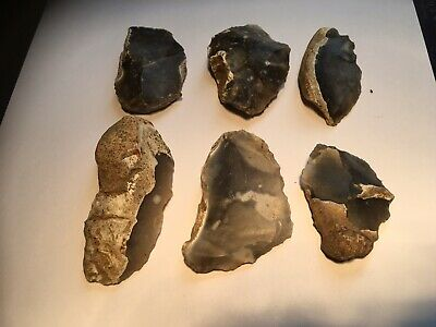 Neolithic Group Of Worked Flint Tools.scraper/knife/blade/flake.prehistoric