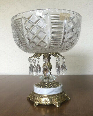Mid Century HOLLYWOOD REGENCY Crystal Compote Bowl W/Prisms Gold Marble Pedestal