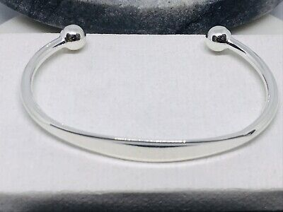 Childrens Babies 925 Sterling Silver Chunky Solid Screw End Torque Bangle Gift