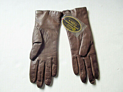 Vintage ARIS Gloves Brown Leather Cashmere Blend Lined Womens Sz 7.5 NEW w TAGS