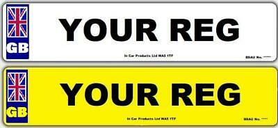 Pair Standard GB MOT UK Road Legal Car Reg Registration Number Plates & Fixings