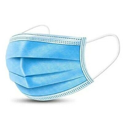 3-Ply Face Mask, One Size Fits All, Disposable - Blue