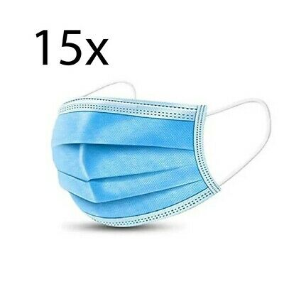 (Pack of 15) 3-Ply Face Mask, One Size Fits All, Disposable - Blue