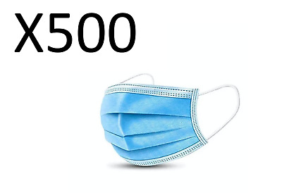 (Pack of 500) 3-Ply Face Mask, One Size Fits All, Disposable - Blue