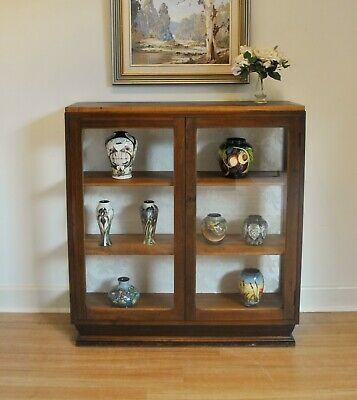 Antique Art Deco Walnut Fabric Back Display, China, Crystal Cabinet. C1920s~30s.