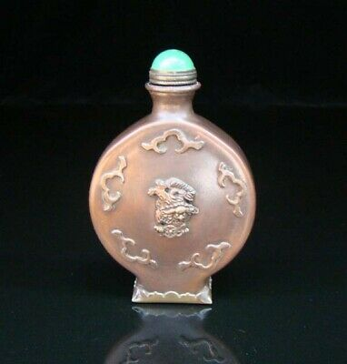 Collectible Handmade Carving Statue Copper Brass Snuff Bottles NO-10